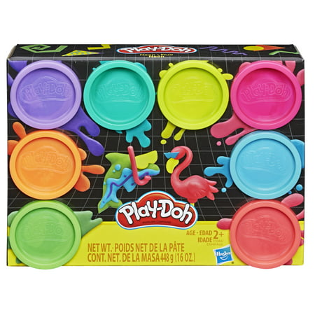 Play-Doh 8-Pack Neon Non-Toxic Modeling Compound with 8 Colors (Playdough Mats Halloween)