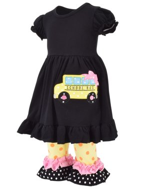 Unique Baby Girls Back to School Bus Tunic Boutique Outfit (3T/S, Black)