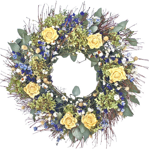 Dried Flowers and Wreaths LLC 22'' Yellow Rose and Hydrangea Wreath