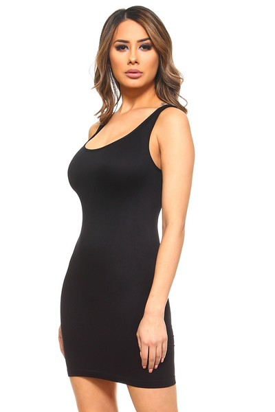 Lady's Traditional Ribbed Tank Dress, Black
