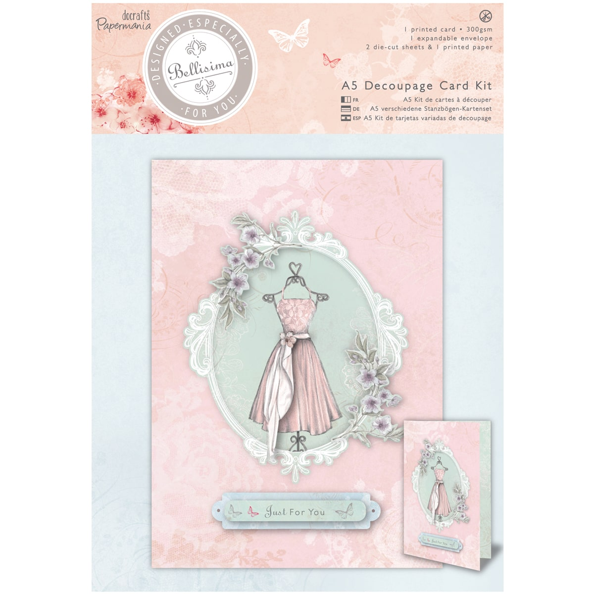 docrafts Papermania Bellisima Card Kit A5-Decoupage Dress