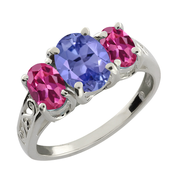 2.55 Ct Oval Blue Tanzanite and Pink Tourmaline 14k White Gold Ring by