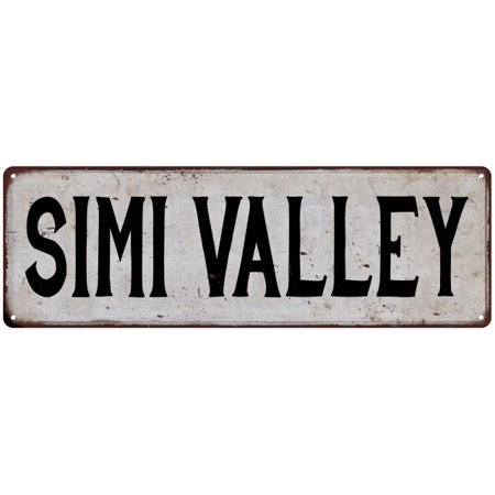 SIMI VALLEY Vintage Look Rustic Metal Sign Chic City State Retro 6186058 for $<!---->