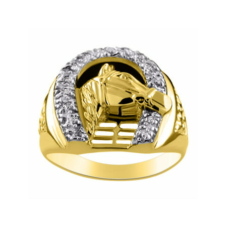 - Diamond Horseshoe Ring LUCKY Sterling Silver or Yellow Gold Plated CCSL-MR2959DY