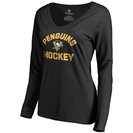 Pittsburgh Penguins Women's Overtime Long Sleeve T-Shirt - Black - Pittsburgh Penguins Party Supplies