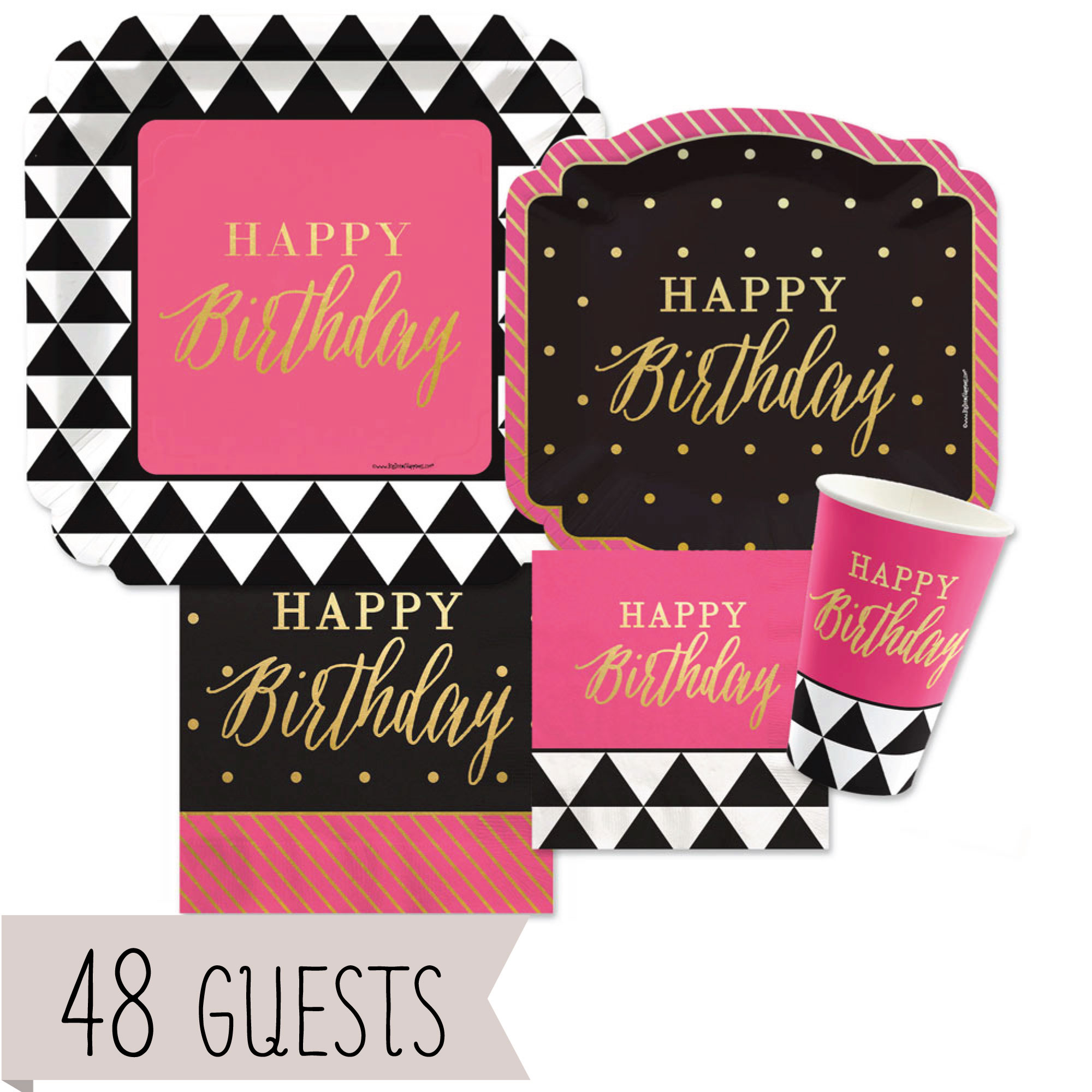 Big Dot of Happiness Chic Happy Birthday - Pink, Black wi...