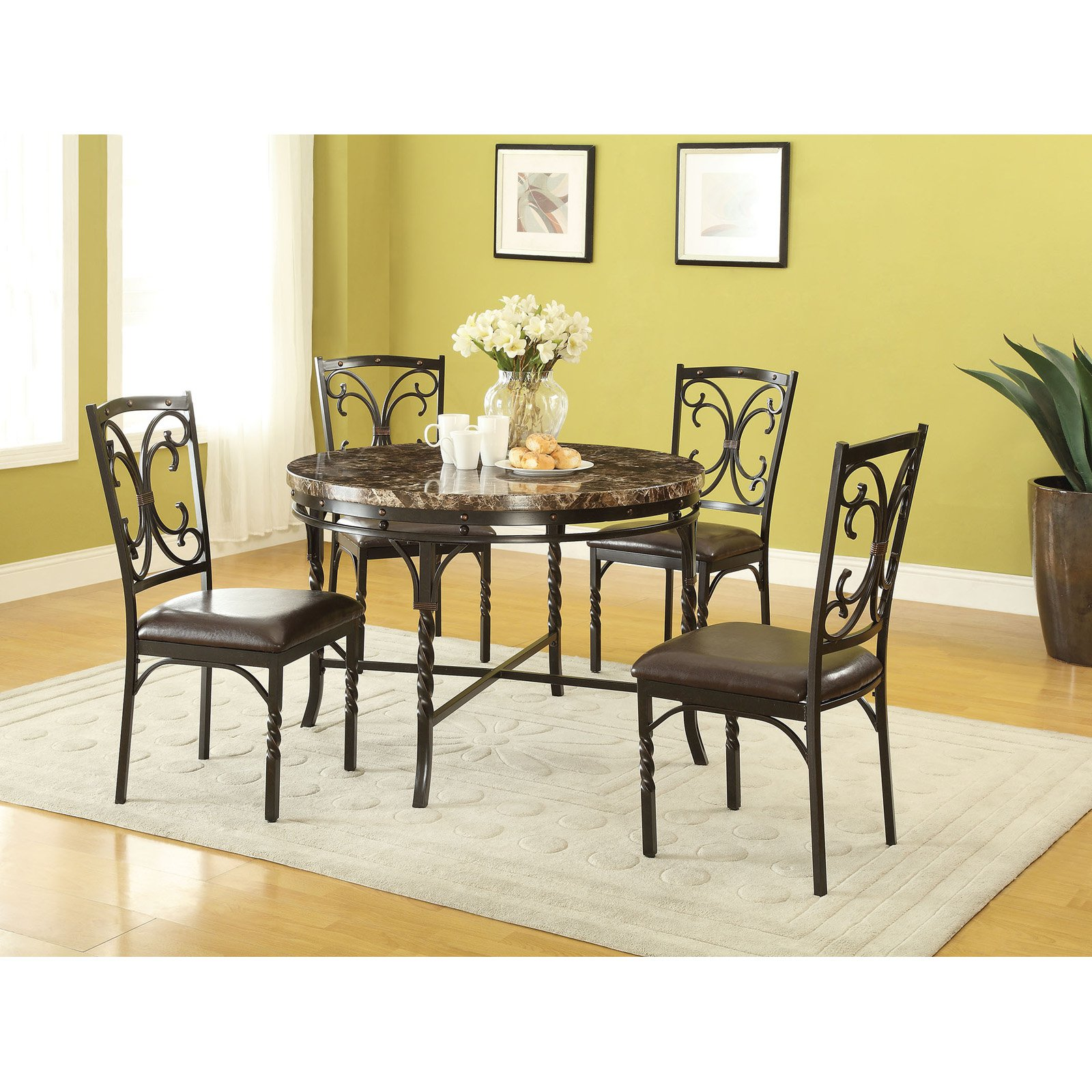 ACME Burril Dining Table, Faux Marble