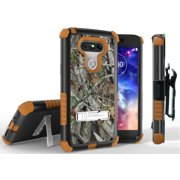 LG G5 CASE CLIP, TRI-SHIELD AUTUMN LEAF TREE CAMO WOODS RUGGED CAMOUFLAGE TREE CASE KICKSTAND COVER + BELT HIP HOLSTER FOR LG G5 PHONE (LS992, VS987, H820, H830, US992, H845)
