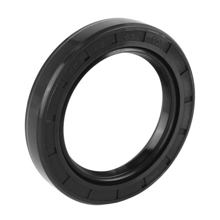 45mm x 65mm x 10mm Black Nitrile Butadiene Rubber Cover Double Lip TC Oil Shaft Seal for Car Auto Black Stained Shaft