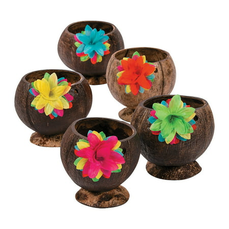Fun Express - Coconut Cup W/flowers - Party Supplies - Drinkware - Re - Usable Cups - 12 Pieces](Coconut Cup)