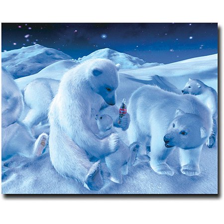 Trademark Art 'Coke Polar Bear Sitting with Cub and Bottle' Canvas Art 28x36 Inch
