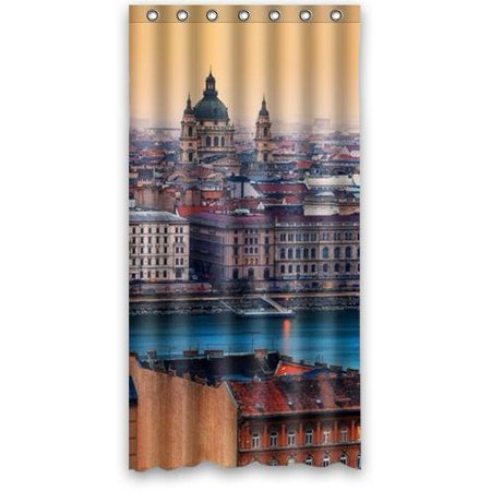 Hungarian Water - GreenDecor View Budapest Hungary Waterproof Shower Curtain Set with Hooks Bathroom Accessories Size 36x72 inches