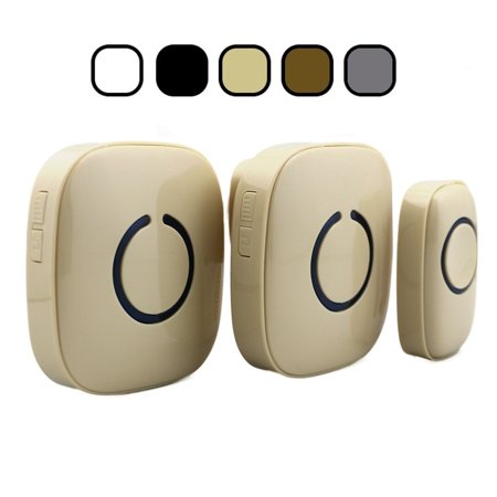SadoTech Model CXR Wireless Doorbell with 1 Remote Button and 2 Plugin Receivers Operating at over 500-feet Range with Over 50 Chimes, No Batteries Required for Receivers, (Beige), Fixed Code C Series