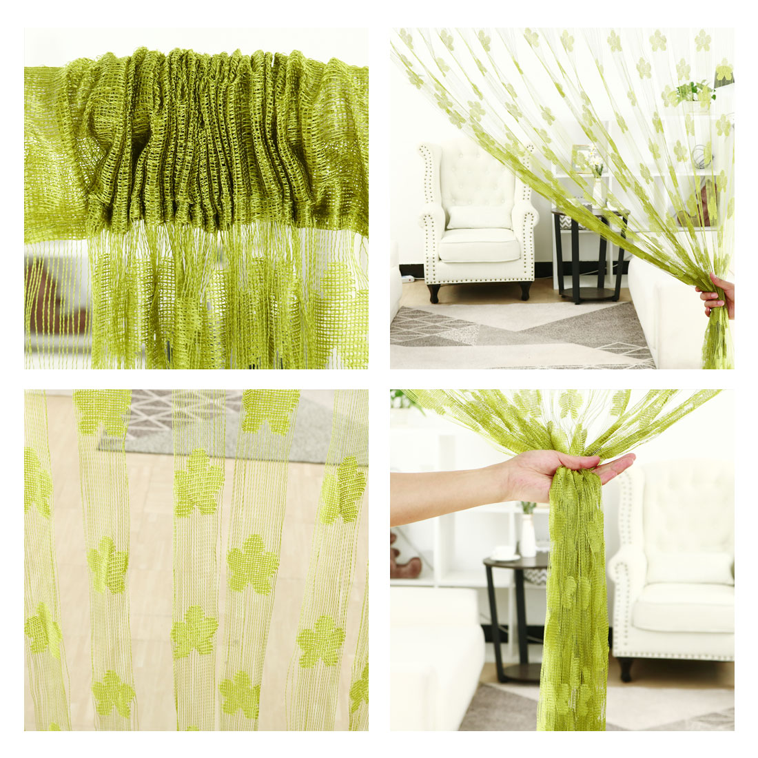 "String Curtain Fringe Panel 39"" x 79""(W*H) Decor Room Door Divider Yellow Green - image 3 of 6"