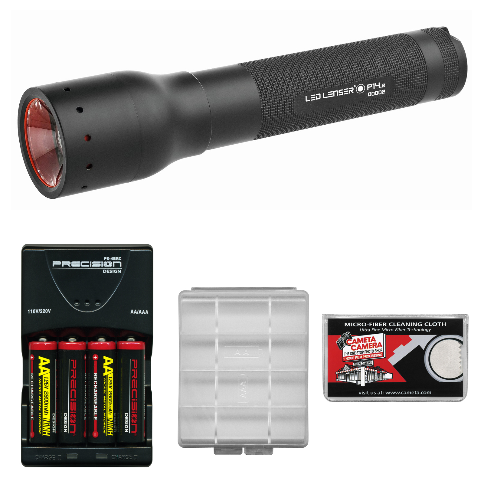 LED Lenser P14.2 350 Lumens Flashlight with Carrying Case with 4 AA Rechargeable Batteries + Charger + Battery Case + Cleaning Cloth