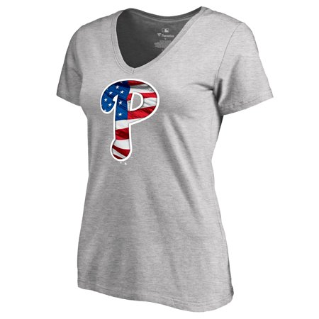 Philadelphia Phillies Fanatics Branded Women's 2018 Memorial Day Banner Wave V-Neck T-Shirt - Heather Gray