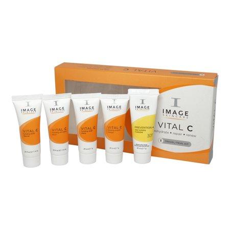 Image Vital C Travel Kit 0.25oz Cleanser, 0.25oz Anti-Aging Serum, 0.25oz Moisturizer SPF 30, 0.25oz Repair Creme, 0.25oz Masque - 5 Pc Kit