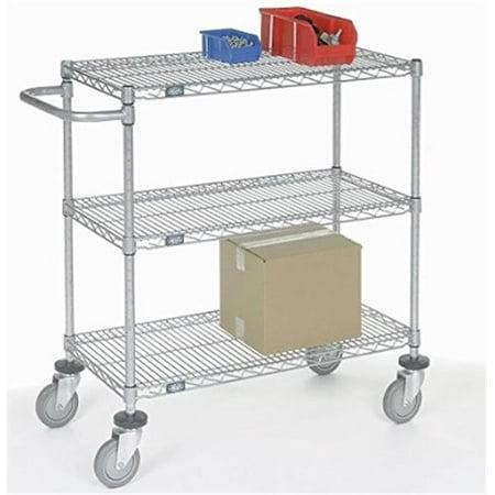 Nexel Industries SC24363B Adjustable Wire Shelf Cart with 2 Braking Casters, Chrome - 24 x 36 x 40 in. Nexel Chrome Wire Shelf