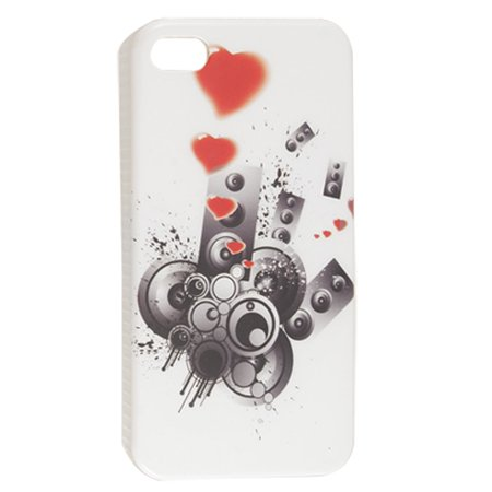 Nonslip Side Circle Red Heart Print Back Shell White for iPhone 4 4G 4S - image 1 of 1