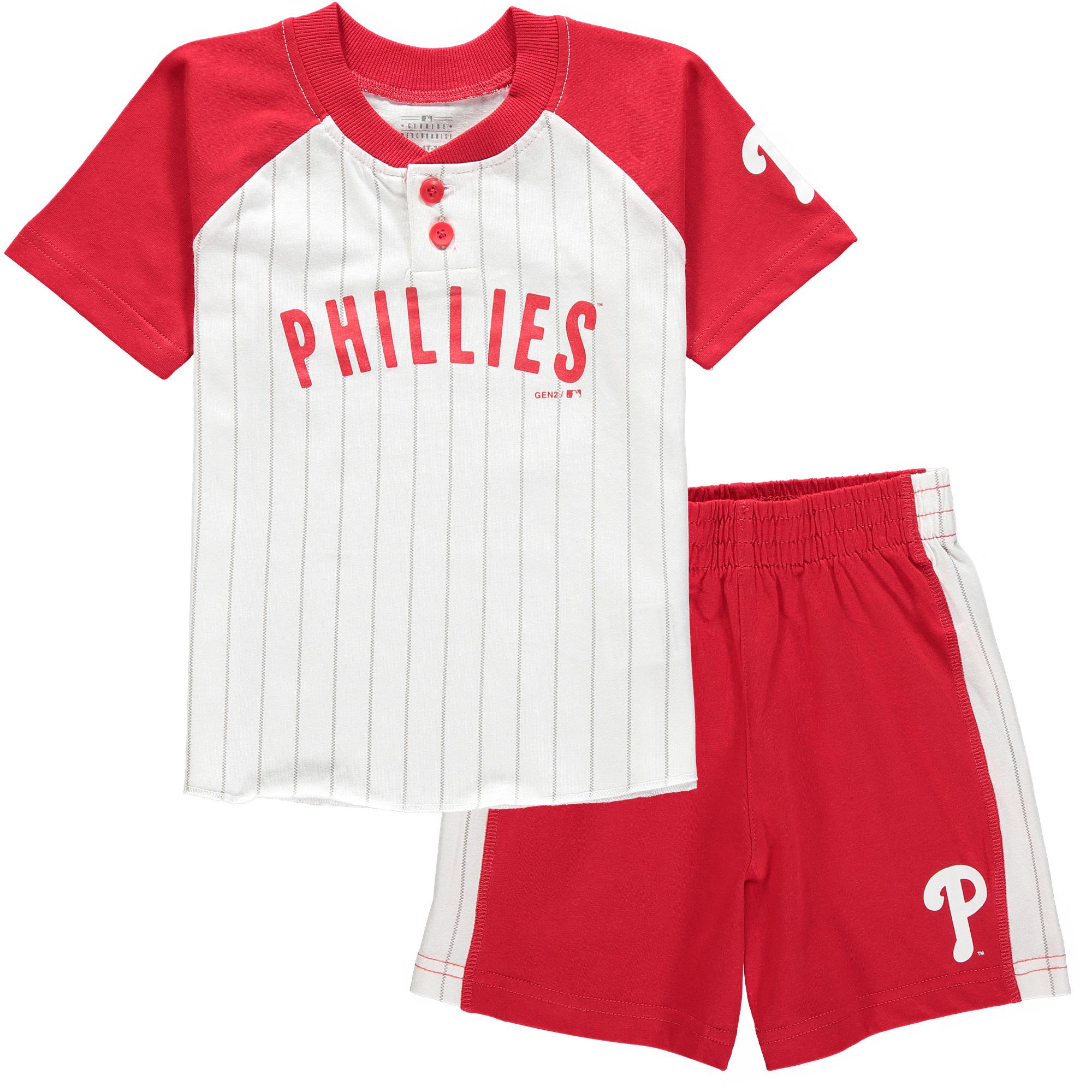 Philadelphia Phillies Toddler Good Hit Henley T-Shirt & Shorts Set - White/Red