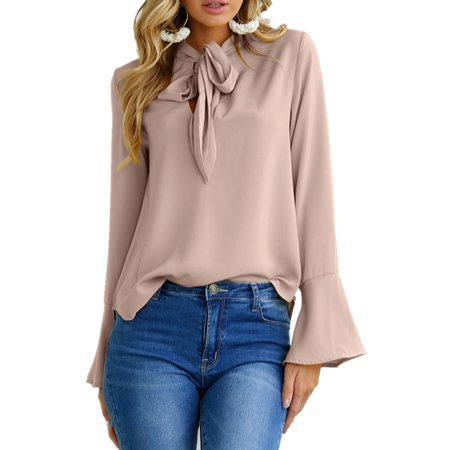 Womens Trumpet Sleeve Tie Bow Long Sleeve Solid Blouses