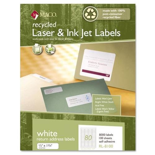 "MACO 1/2"" x 1-3/4"" Laser/Inkjet Recycled White Return Address Labels (80 Labels/Sheet) (100 Sheets/Box) (Interchangeable with Avery# 5167)"