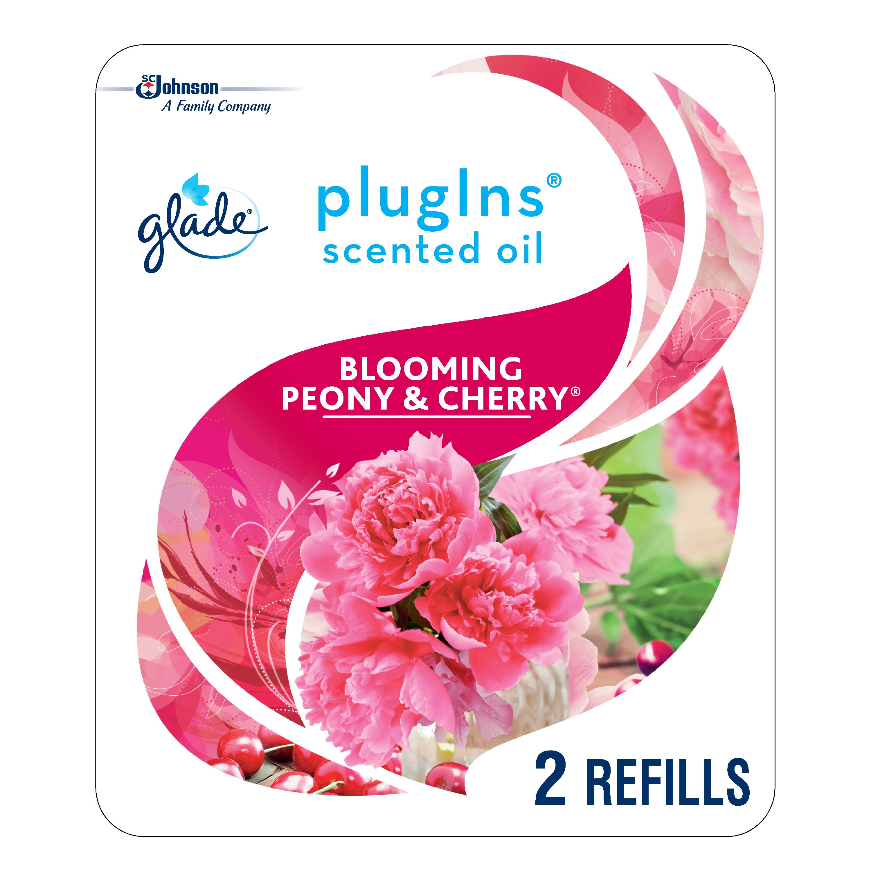 Glade PlugIns Scented Oil Refill Blooming Peony & Cherry, Essential Oil Infused Wall Plug In, Up to 50 Days of Continuous Fragrance, 1.34 oz, Pack of 2