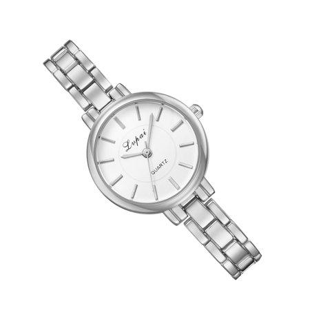 outdoorline Women Alloy Quartz Watch Girls Narrow Strap Clear Scale Round Pointers Dial Wristwatch Gift - image 4 de 5