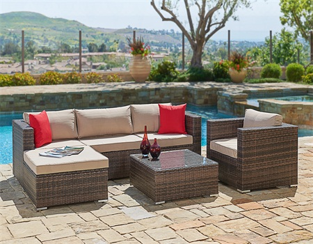 Suncrown Outdoor Furniture Sectional Sofa & Chair (6-Piece Set) All-Weather Brown Wicker... by Suncrown
