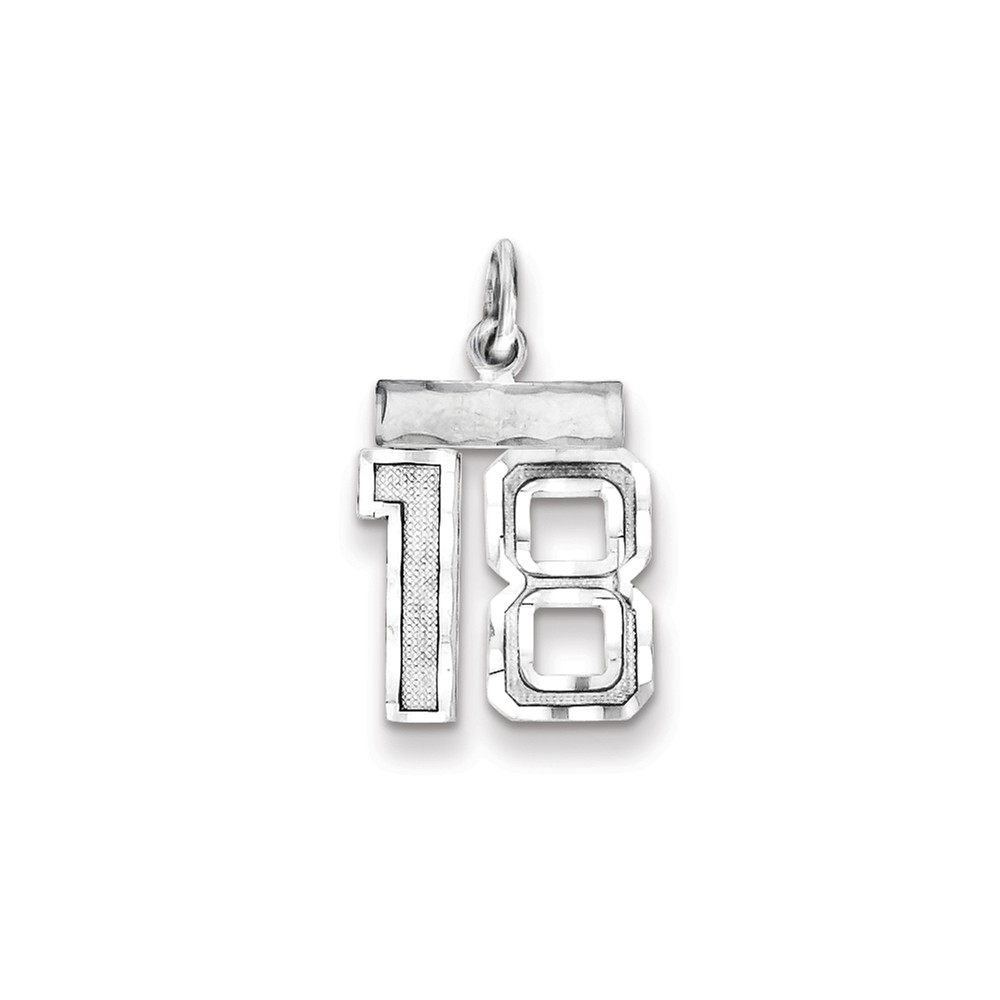 Sterling Silver Polished Small #18 Charm (0.8in long x 0.5in wide)