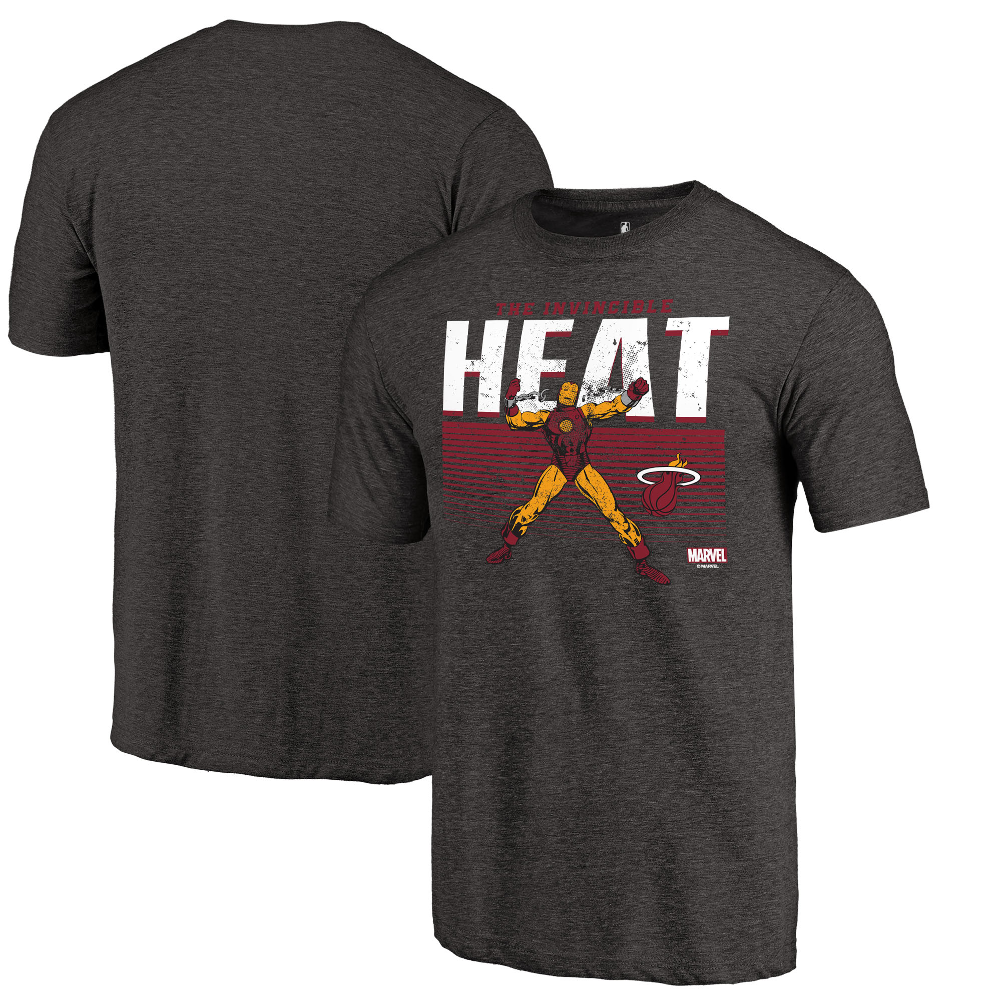 Miami Heat Fanatics Branded Marvel Iron Man Invincible Tri-Blend T-Shirt - Heathered Black