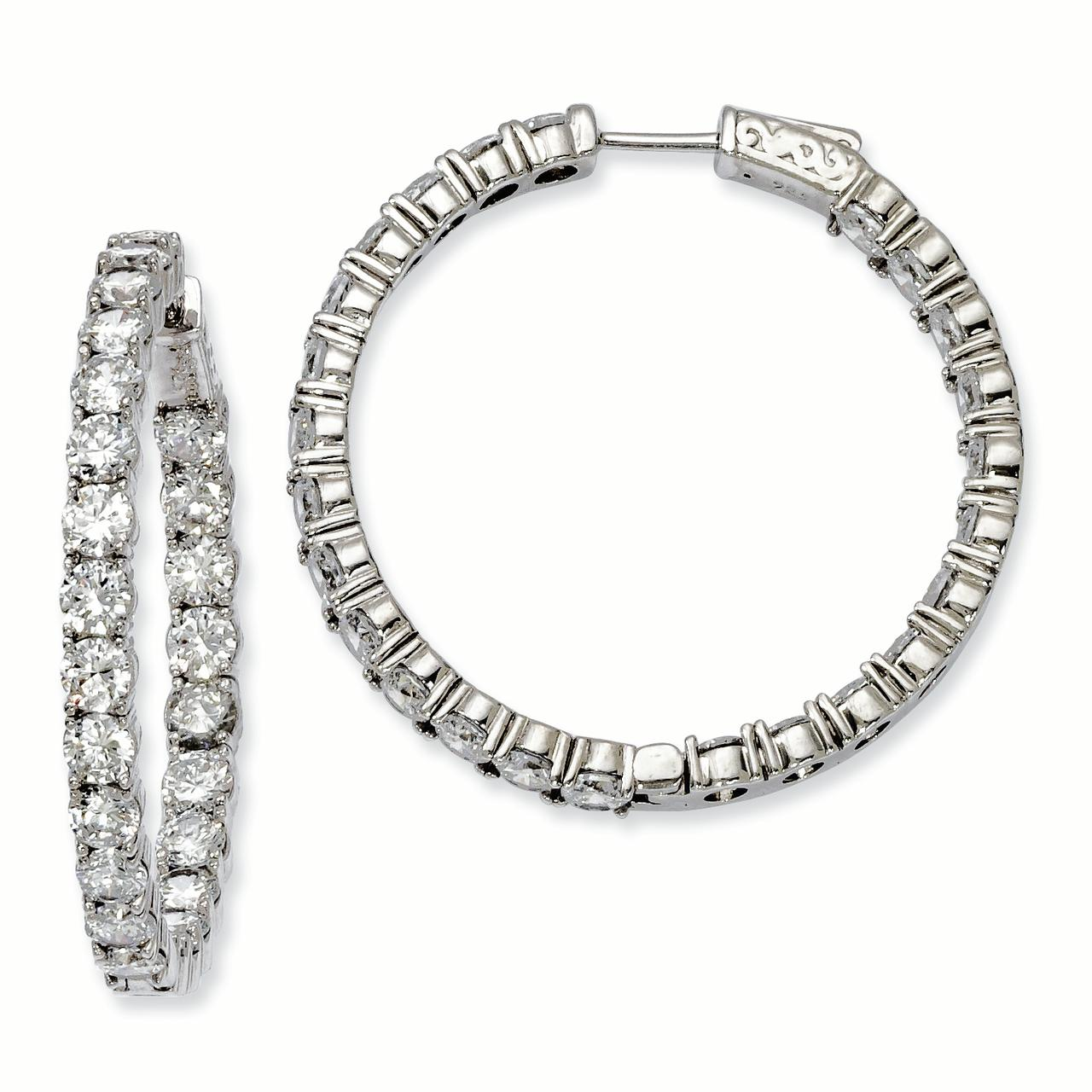 Sterling Silver Rhodium-plated CZ In and Out Hinged Hoop Earrings QE7970 - image 1 of 1