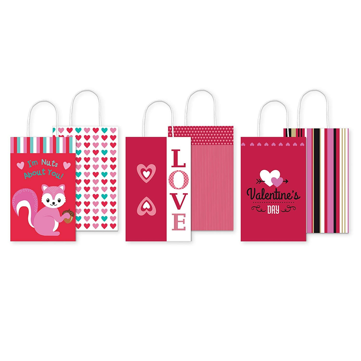 Pack of 6 Small Kraft Valentine's Gift Bags - Perfect Size for Cute Gifts and Sweet Treats