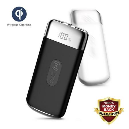 Kingslim 500000mAh Power Bank Qi Wireless Charging USB Portable Battery Charger-Black