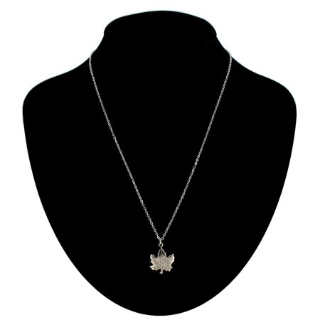 - Canadian Maple Leaf Symbol Silver Tone Charm Pendant Necklace Made In USA