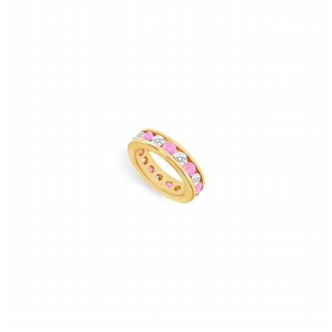 Fine Jewelry Vault UBUAGVYRD800CZPS14125 CZ Eternity Bands With Created Pink Sapphire Created in Sterling Silver - 8 CT TGW
