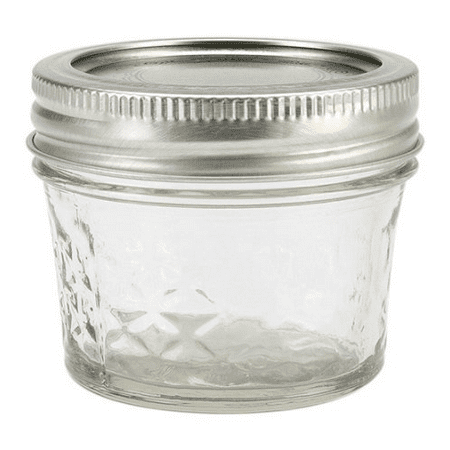 Tiny Mason Jars (Ball Quilted Crystal Jelly Jar w/Lid & Band, 4 Ounces, 12)