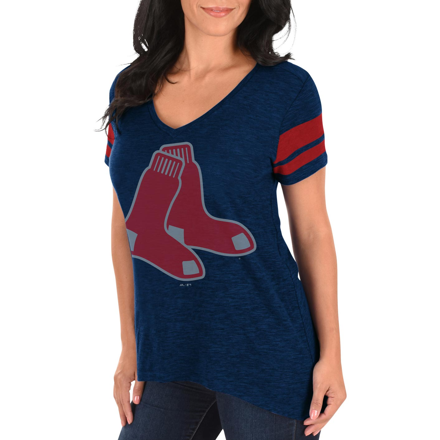 Boston Red Sox Women s Check The Tape V-Neck T-Shirt - Majestic 1b23099f05