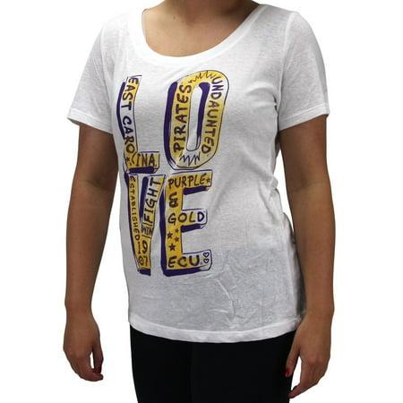 Creative Apparel Women's NCAA East Carolina Pirates Love Locker T-Shirt East Carolina Pirates Logo