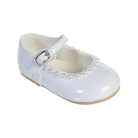 Girls White Glitter Rhinestone Accents Mary Jane Dress - Glitter Mary Jane