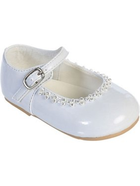 ceb4a818f23f Product Image Girls White Glitter Rhinestone Accents Mary Jane Dress Shoes