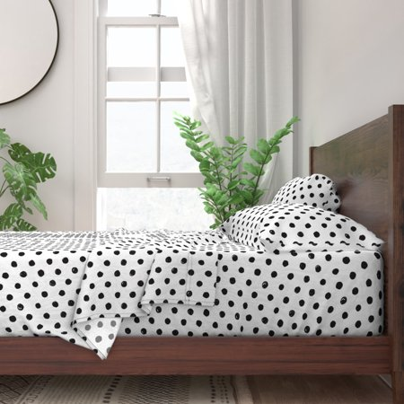 Black And White Polka Dot Modern Polka 100% Cotton Sateen Sheet Set by Roostery Black And White Sheets