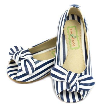 Foxpaws Little Girls Blue White Stripe Bow Open Toe Flats Shoes 11-13 Kids (Stripe Open Toe)