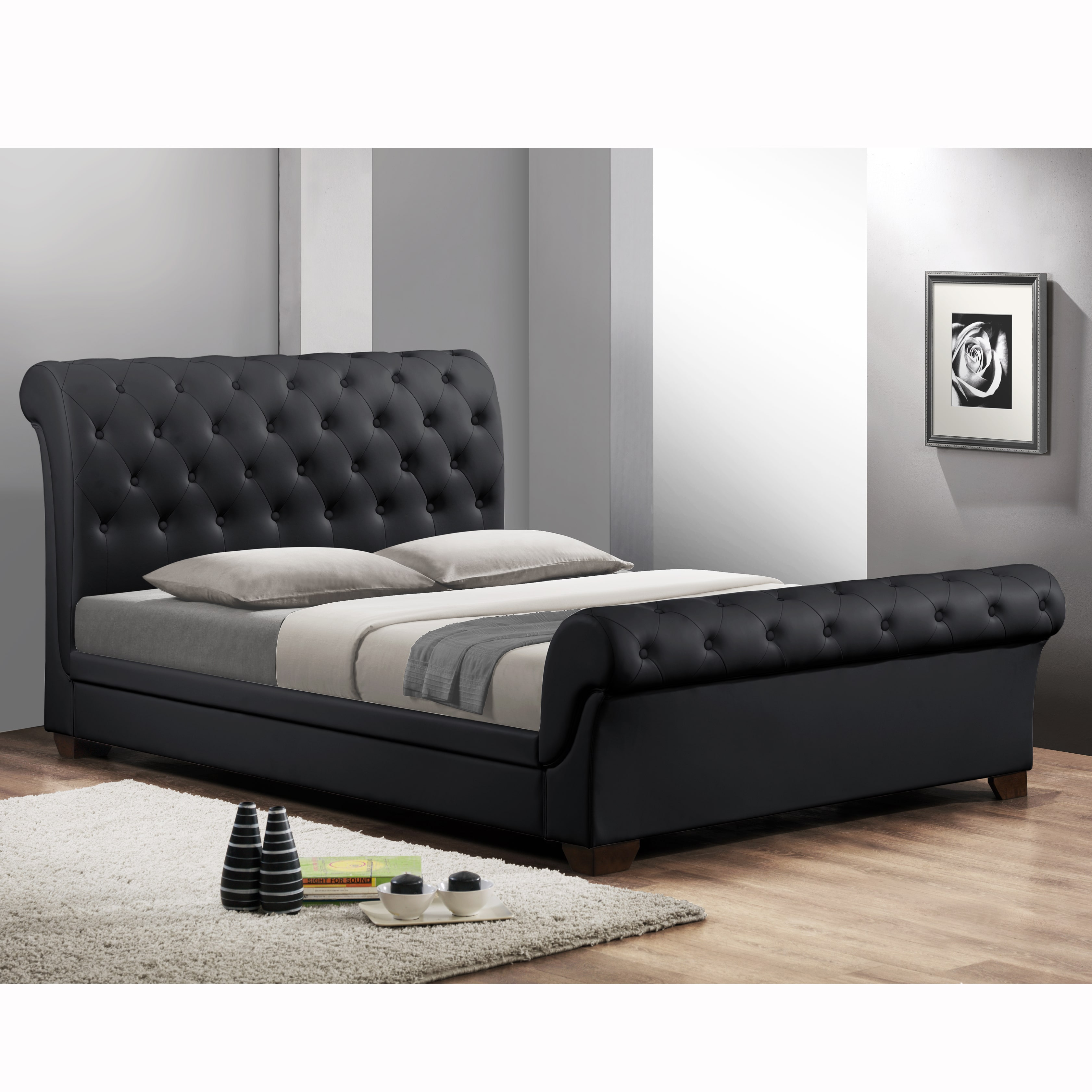 Baxton Studio Leighlin Black Modern Sleigh Bed with Upholstered Headboard Full Size by Overstock