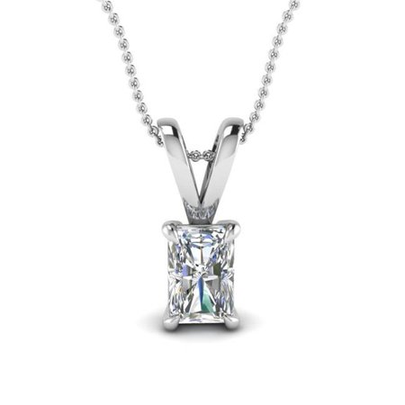 - Harry Chad Enterprises HC11207 1.50 CT Prong Set Radiant Cut Solitaire Diamond Necklace Pendant - 14K White Gold