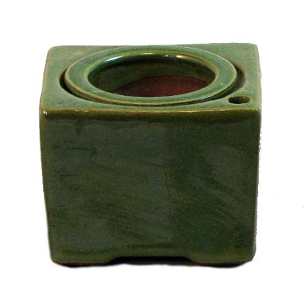Square Self Watering Ceramic Pot with Felt Feet - Green - 4 3/8