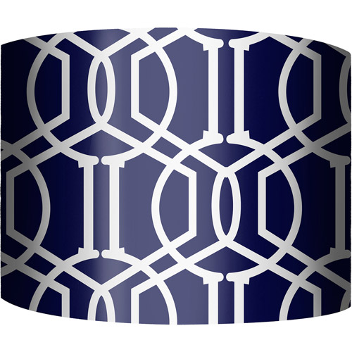 "12"" Drum Lamp Shade, Trellis Navy"