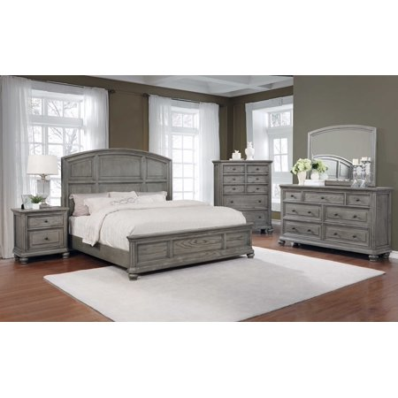 Best Master Furniture 5 Pcs Eastern King Bedroom Set in Grey Rustic Wood