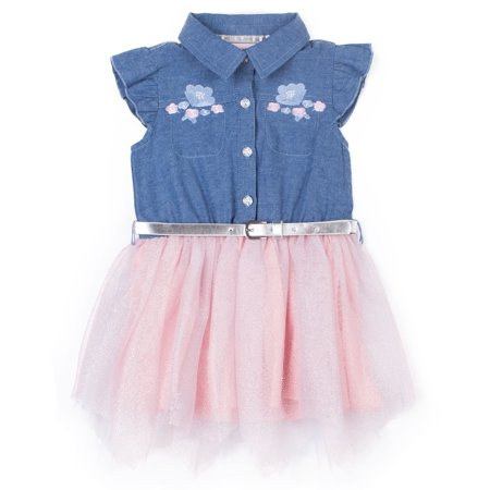 Chambray Ruffle Sleeve and Tulle Dress (Little Girls)