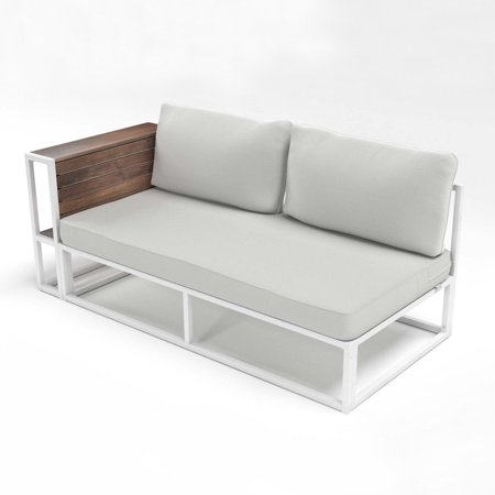 Zinus Outdoor White Steel Framed Cushioned Loveseat with Side Storage
